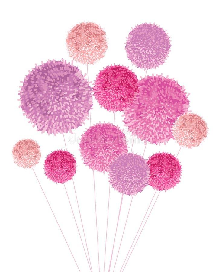 Vektor-Blumenstrauß dekorativen Elements Pom Poms Baby Girl Pinks Groß für Kindertagesstättenraum, handgemachte Karten, Einladung stock abbildung