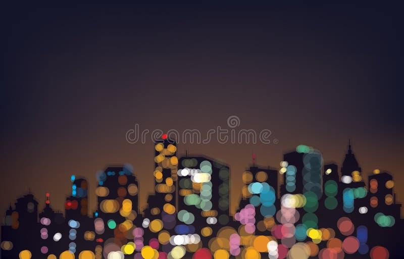 Vektor bokeh Nachtstadthintergrund lizenzfreie abbildung