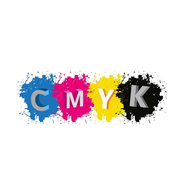 Vektor - bokstäver för 3d CMYK med målarfärgfärgstänkbakgrund stock illustrationer