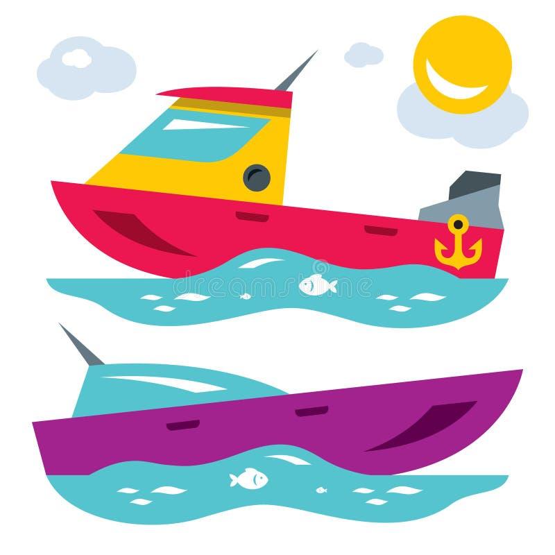 Vektor-Boote Flache Art bunte Karikaturillustration vektor abbildung
