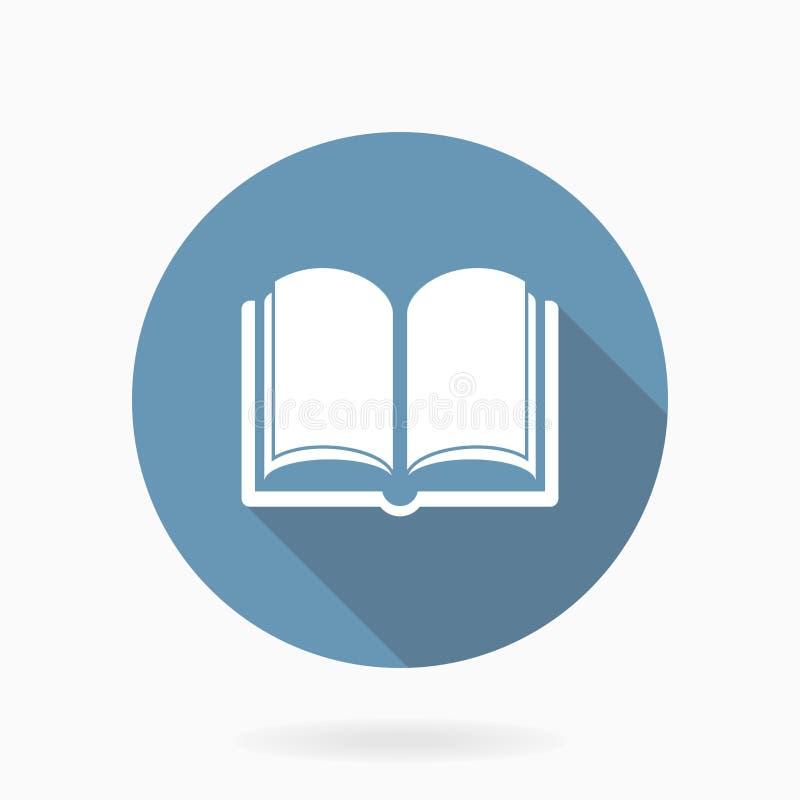 Vektor-Buch-Ikone mit flachem Design Blau und Weiß lizenzfreie abbildung