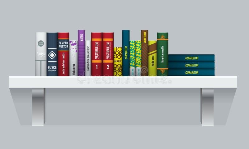 Vektor-Buchregal mit realistischen Buchstielen Leute der hinteren Ansicht lizenzfreie abbildung