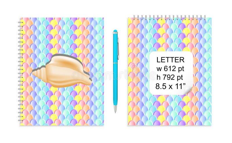 Vektor-Buchstabe-Modell mit Meerjungfrau-Endstück stuft Muster für modische Notizbuch-Abdeckungen ein stock abbildung