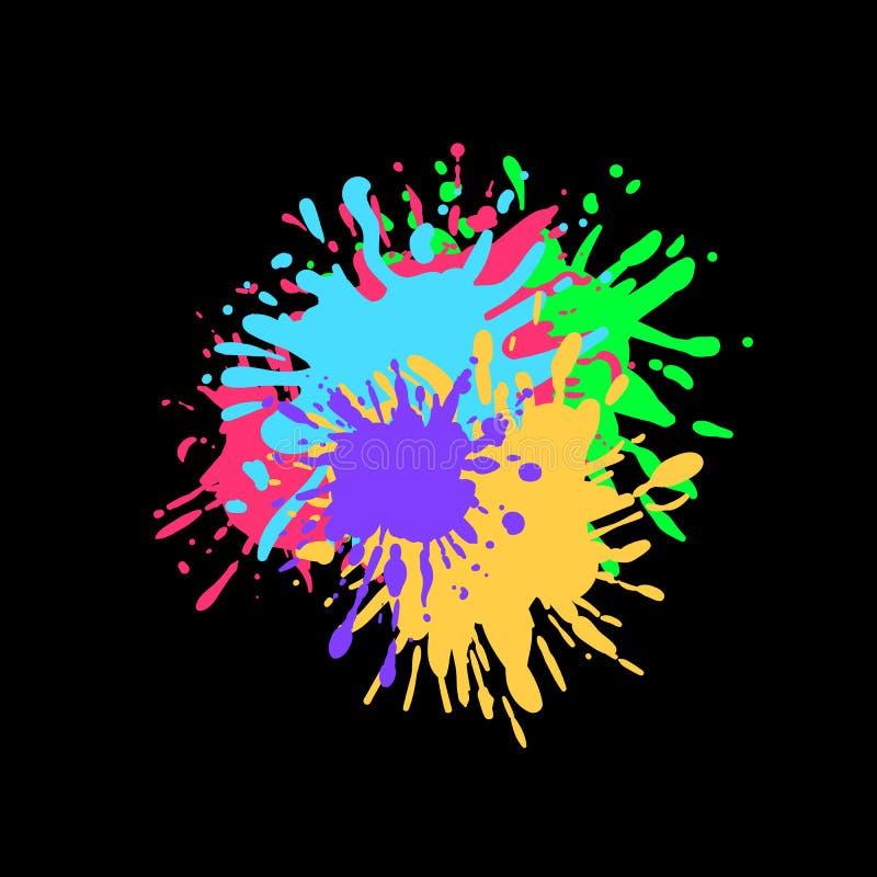 Vektor-bunte Farbe spritzt auf schwarzen Hintergrund, Tinten-Spritzen stock abbildung