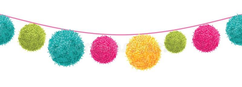 Vektor-bunte glückliche Geburtstagsfeier Pom Poms Set On ein Schnur-horizontales nahtloses Wiederholungs-Grenzmuster Groß für stock abbildung