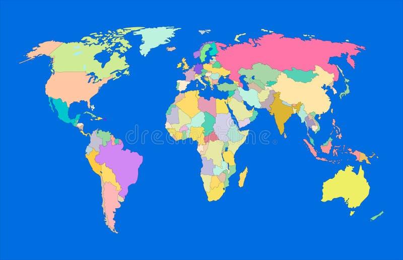 Vektor-bunte Weltkarte, politische Karte auf blauem Ozean-Hintergrund, dekorative Fahne lizenzfreie abbildung