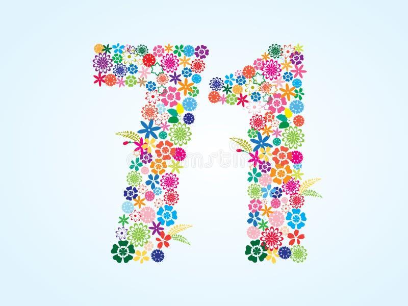 Vektor-bunter Blumen-71 Zahl-Entwurf lokalisiert auf weißem Hintergrund Blumennr. siebzig ein Schriftbild lizenzfreie abbildung
