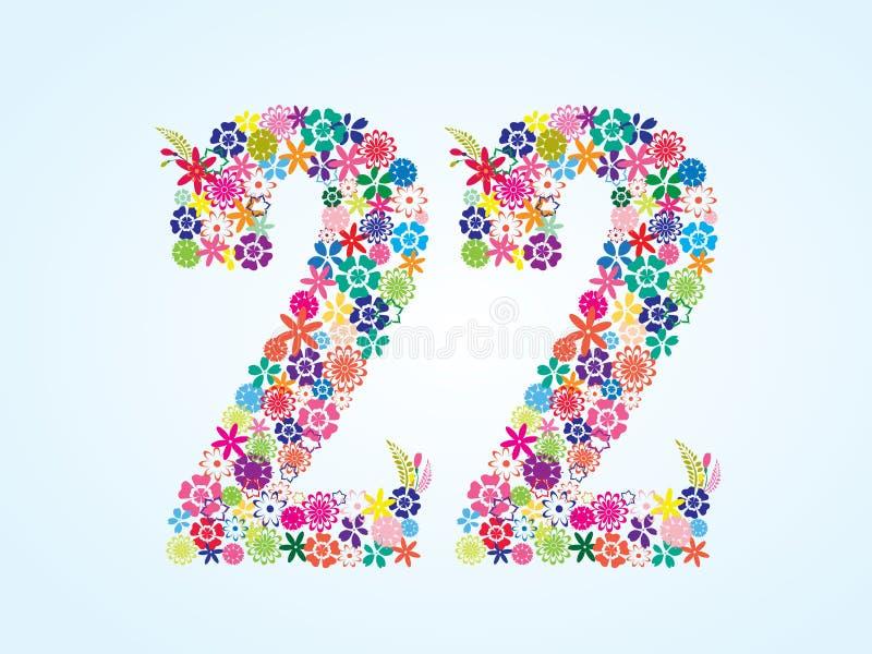 Vektor-bunter Blumen-22 Zahl-Entwurf lokalisiert auf weißem Hintergrund Blumenschriftbild der nr.-zweiundzwanzig vektor abbildung