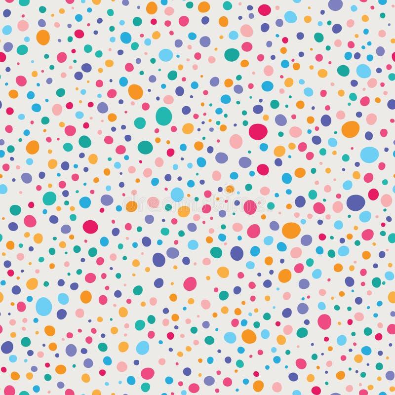 Vektor bunter Wonky Dots Seamless Pattern lizenzfreie abbildung