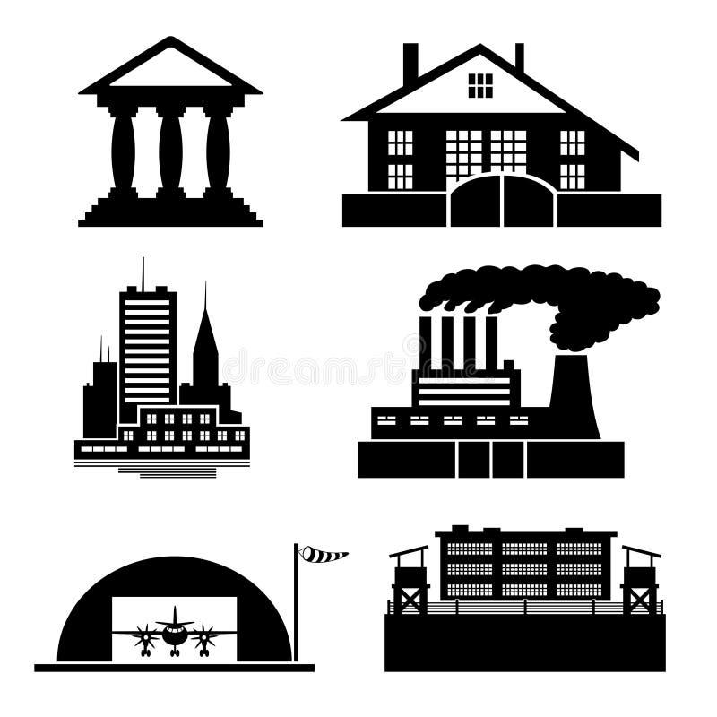 vektor Byggnadssymboler stock illustrationer