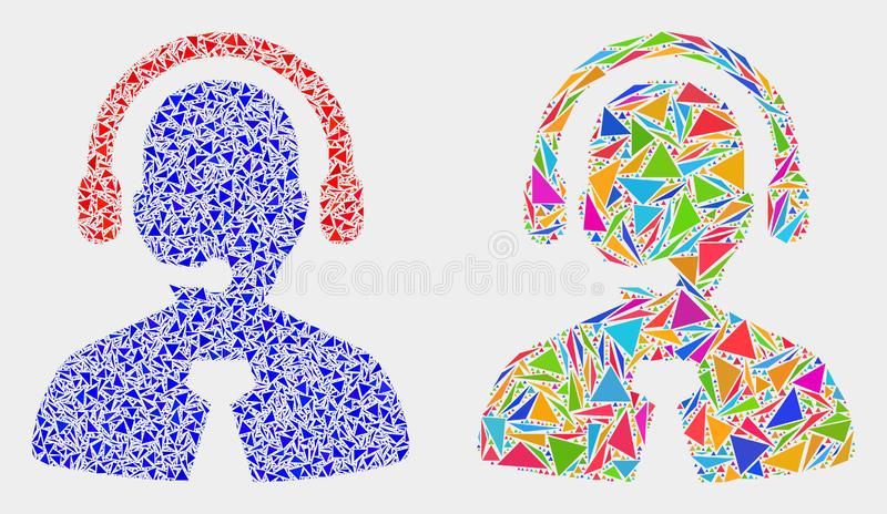 Vektor-Call-Center-Manager Mosaic Icon von Dreieck-Einzelteilen lizenzfreie abbildung