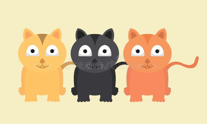 Vektor Cat Funny Collection Cute And entzückend lizenzfreies stockbild