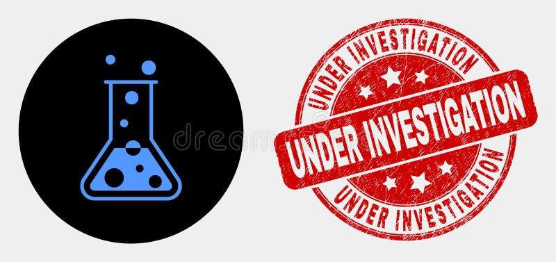 Vektor-chemische Retorten-Ikone und verkratztes in Untersuchung Stempelsiegel stock abbildung
