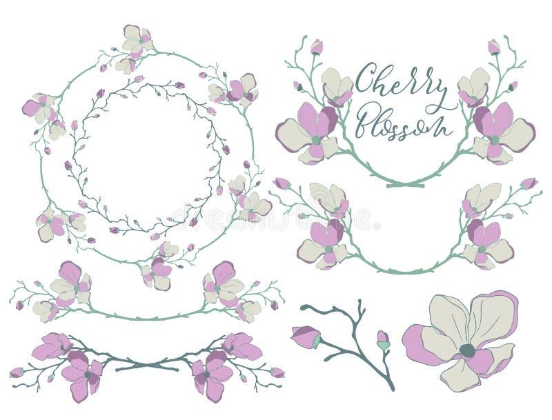 Vektor Cherry Blossom Design Avdelare, ramar och kransar stock illustrationer