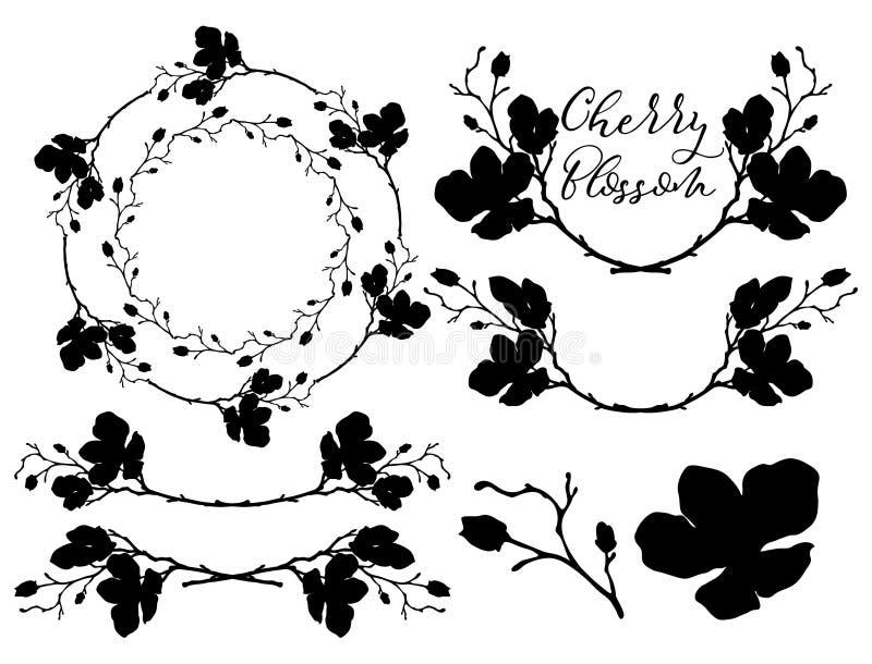 Vektor Cherry Blossom Shapes Avdelare, ramar och kransar stock illustrationer