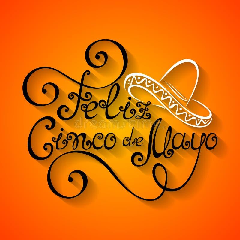 Vektor Cinco de Mayo Inscription med sombreron stock illustrationer