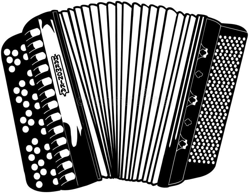Vektor Clipart för Accordian musikinstrumenttecknad film royaltyfri illustrationer
