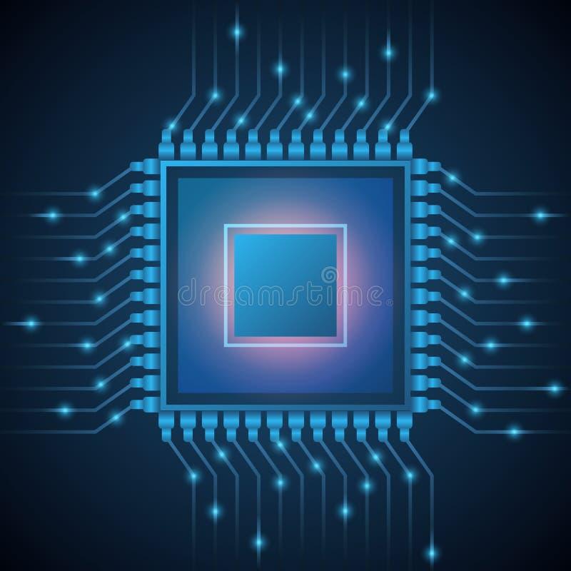 Vektor-Computer CPU-Prozessorsystemchip Abstrakter Datenfluss in Kernmikrochip Auf lagerabbildung vektor abbildung