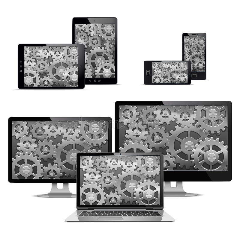Vektor-Computer mit Gängen lizenzfreie abbildung