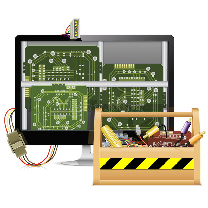 Vektor-Computer-Reparatur mit Werkzeugkasten lizenzfreie abbildung