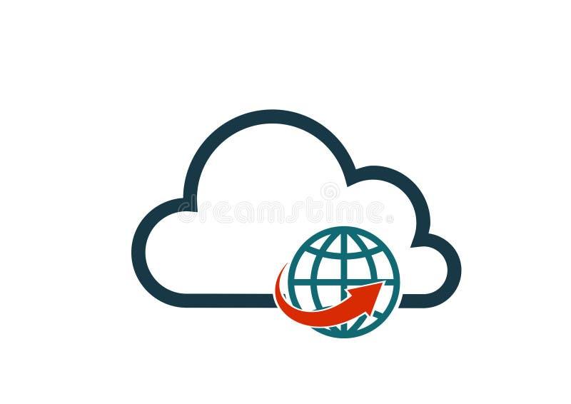 Vektor-Computertechnologieinternet-Zeichenbild der Wolke des globalen Netzwerks Ikone lokalisiertes lizenzfreie abbildung