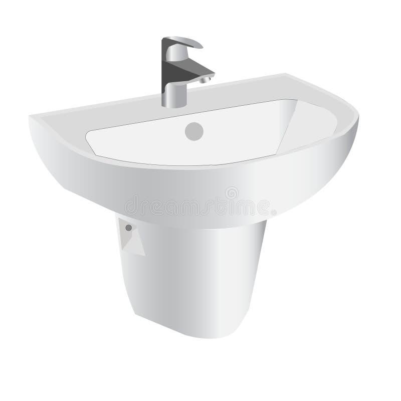 Vektor Countertopwaschbecken in einem modernen Badezimmer vektor abbildung
