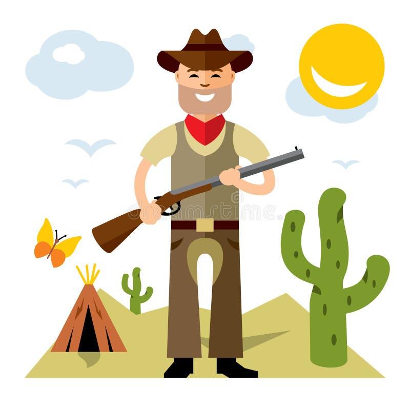 Vektor-Cowboy mit Gewehr Flache Art bunte Karikaturillustration lizenzfreie abbildung