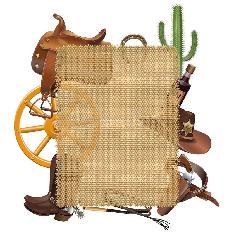 Vektor-Cowboy Sackcloth Frame vektor abbildung