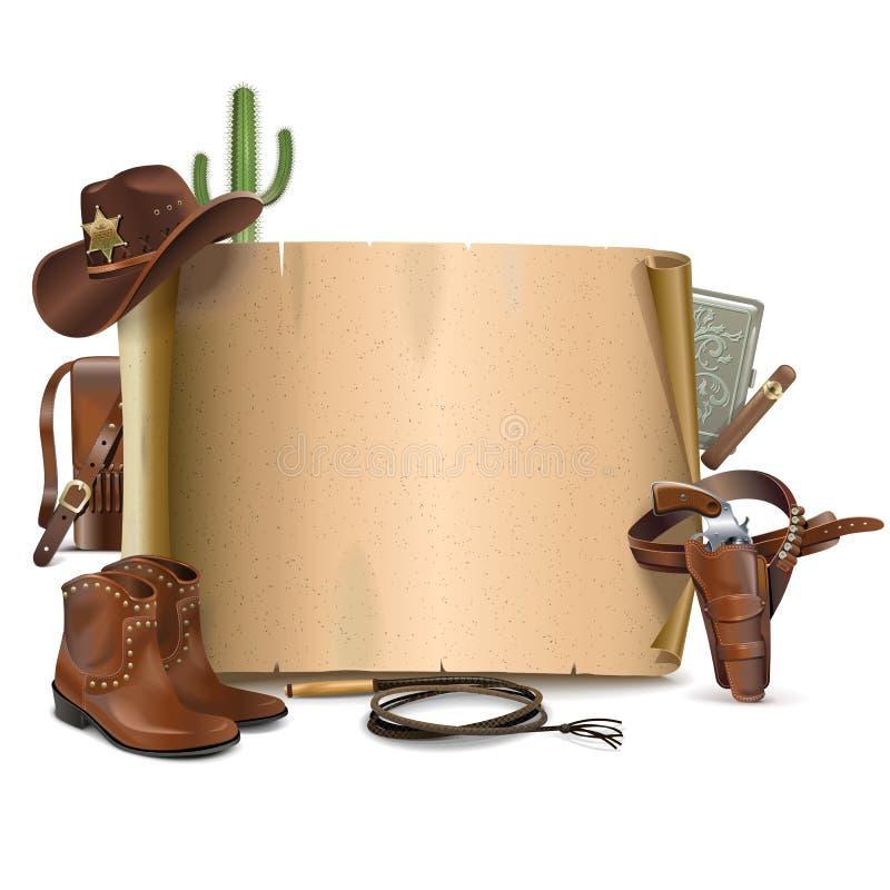 Vektor-Cowboy Scroll lizenzfreie abbildung
