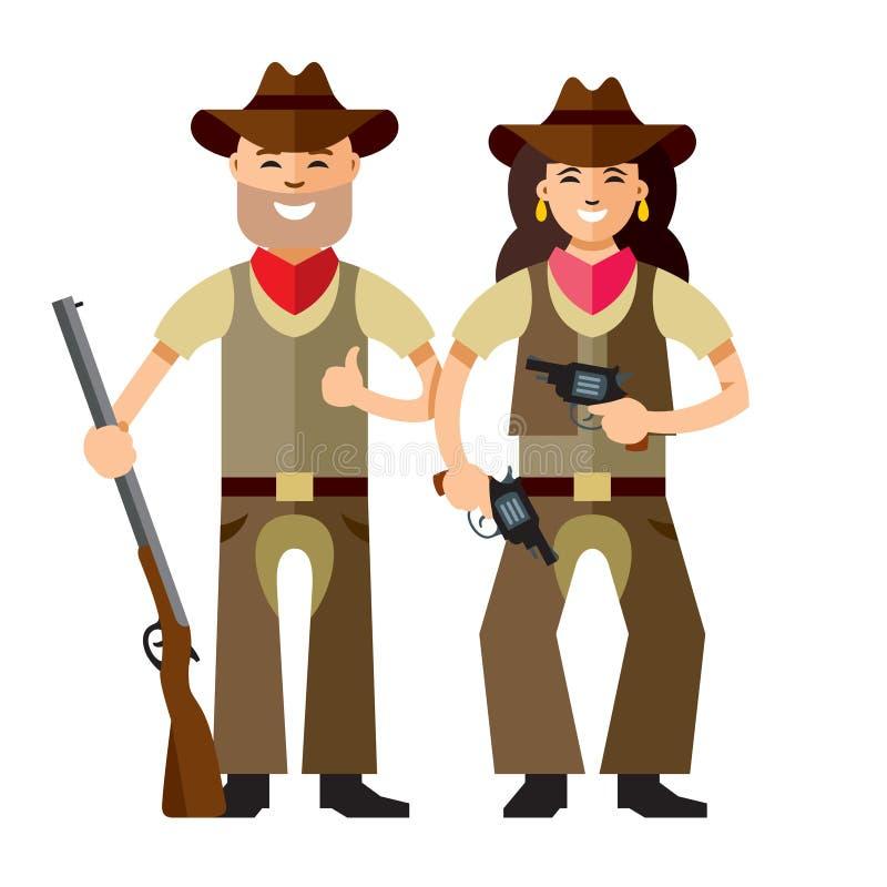 Vektor-Cowboys mit Gewehr Flache Art bunte Karikaturillustration lizenzfreie abbildung
