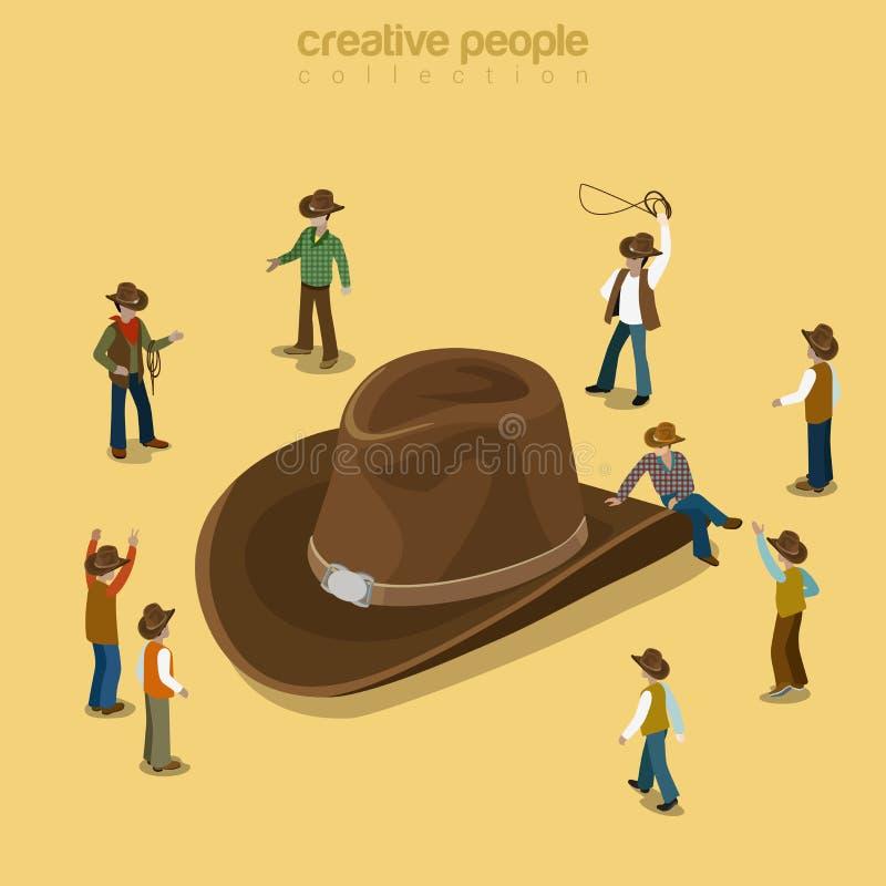 Vektor 3d för hatt för landscowboystil bärande plan isometrisk stock illustrationer