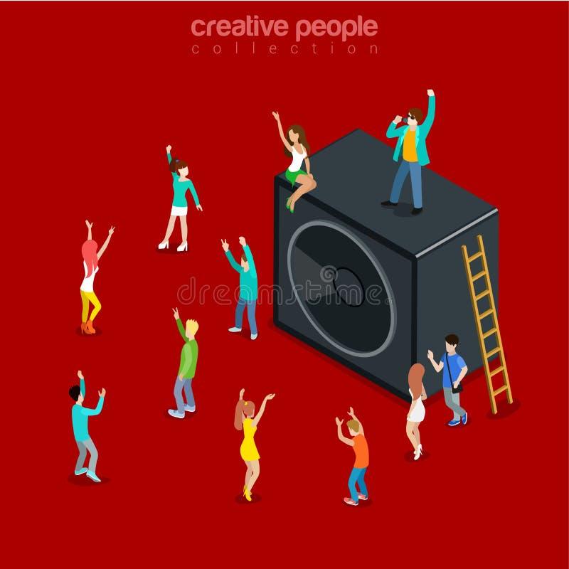 Vektor 3d för lägenhet för dans för högtalare för show för partitidmusik isometrisk royaltyfri illustrationer