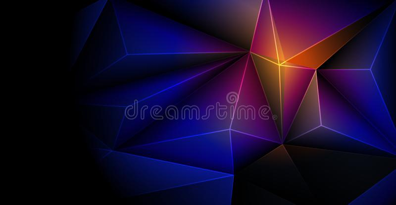 Vektor 3D form för geometrisk, polygon-, linje-, triangelmodell för tapet eller bakgrund Poly för illustration låga polygonal des stock illustrationer