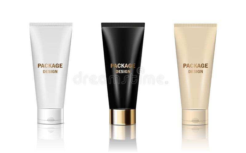 Vektor 3d stellte die lokalisierten glatten realistischen Glasrohre des Modells ein, die Creme, Shampoo, Kosmetikprodukte verpack stock abbildung