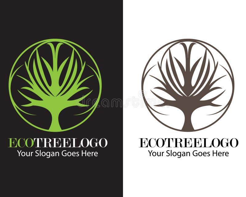Vektor de conception de logo d'arbre d'Eco à plat illustration de vecteur