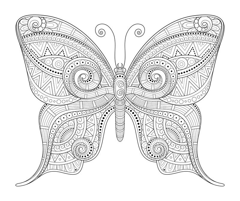 Vektor-dekorativer aufwändiger Schmetterling lizenzfreie abbildung