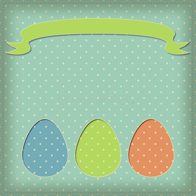 Easter picture with three eggs and a ribbon for your inscription royalty free stock photo
