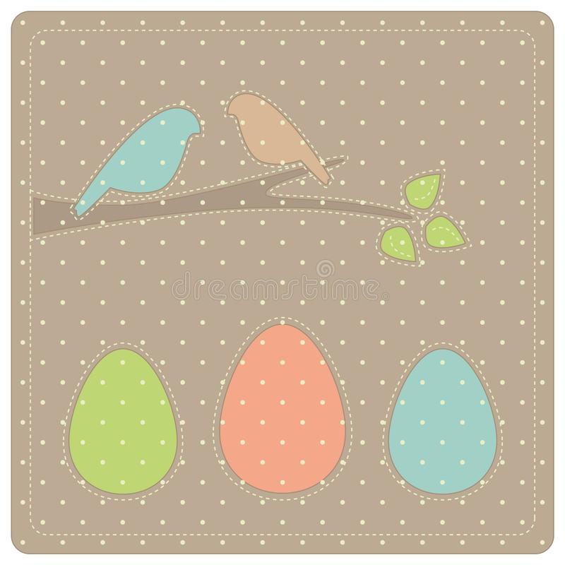 Easter picture with three eggs and two birds on a branch stock photo