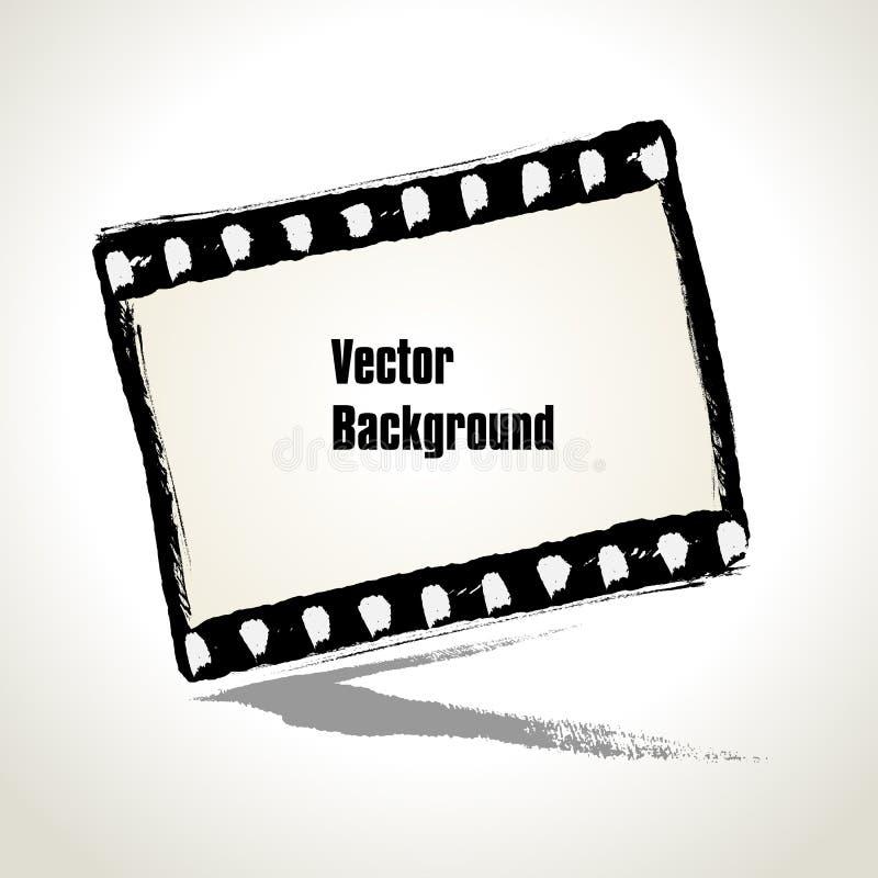 Vektor: Den åldriga illustrationen av en grungefilmstrip inramar. stock illustrationer