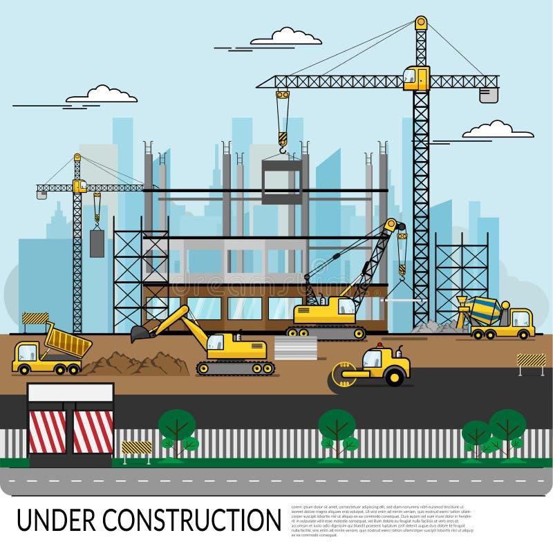 Vektor der beschäftigten Baustelle mit den Arbeitskräften, LKW, Kran und schwerer Ausrüstung, die an Gebäudestruktur mit Stadtans vektor abbildung