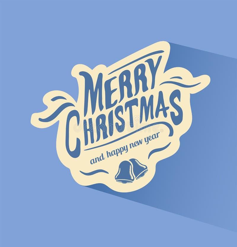 Vektor der frohen Weihnachten mit Glocken stock abbildung