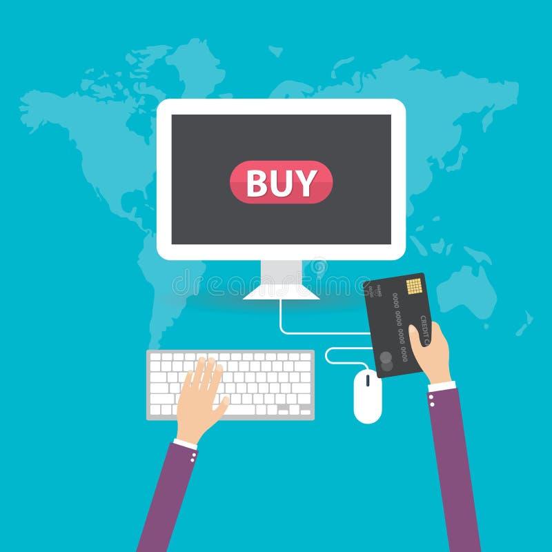 Vektor der Geschäftshand Kreditkarte für das on-line-Einkaufen halten lizenzfreie abbildung
