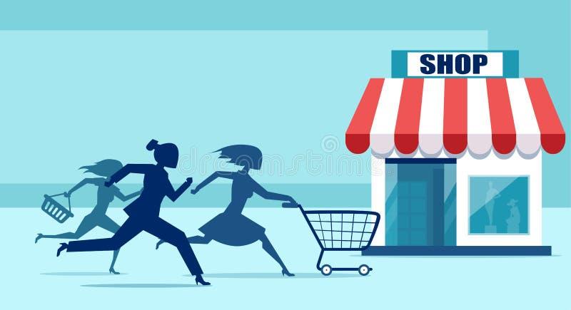 Vektor der Gruppe Käuferfrauen in Eile, die zum Verkaufsdiskonter laufen lizenzfreie abbildung