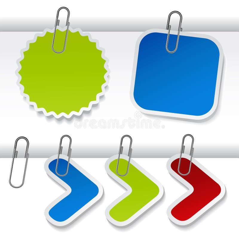 Vektor, der Kennsätze mit Papierklammer bekanntmacht lizenzfreie abbildung