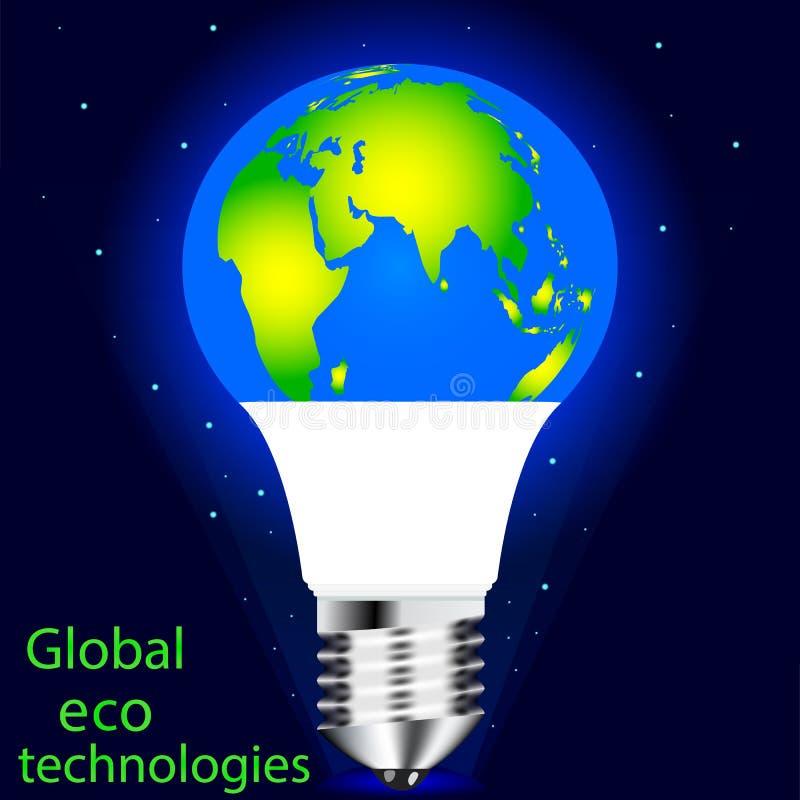 Vektor, der LED-Lampe zeichnet Erhaltung von eco Welt, von Rettungsnatur und von Umwelt vektor abbildung