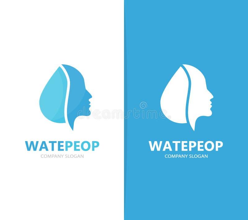 Vektor der Mann- und Öllogokombination Gesicht und Tropfensymbol oder -ikone Einzigartiger Mensch und Wasser, Aquafirmenzeichende lizenzfreie abbildung