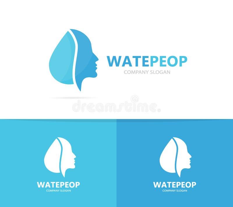 Vektor der Mann- und Öllogokombination Gesicht und Tropfensymbol oder -ikone Einzigartiger Mensch und Wasser, Aquafirmenzeichende stock abbildung