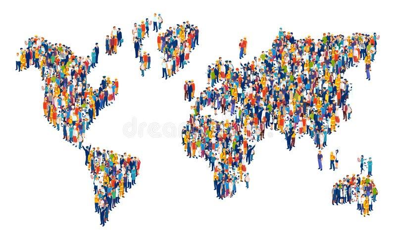 Vektor der Menge der multikulturellen Leute, die eine Weltkarte verfassen vektor abbildung