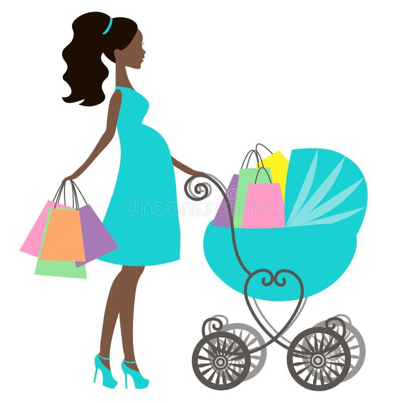 Vektor der modernen schwangeren Mama mit Weinlesekinderwagen, Online-Shop, Logo, Schattenbild lizenzfreie abbildung