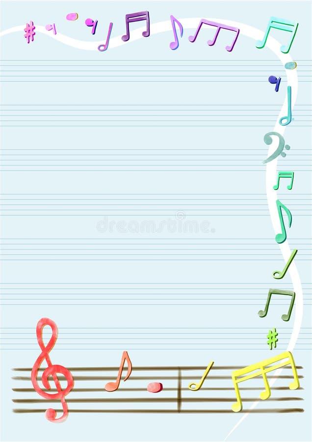 Vektor der musikalischen Anmerkungen im Notizbuch oder im Rahmen, Grenze vektor abbildung